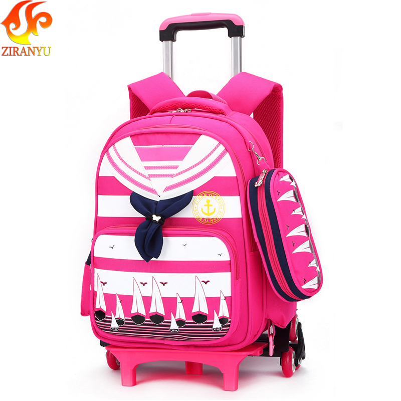 ZIRANYU Trolley Backpack Kids Wheeled Bag Bookbag travel luggage Mochila Removable Children School Bags with 3 Wheels for Girls new 2017 women backpack painting school bags for teenagers girls stylish children bagpack ladies travel bag student kids mochila