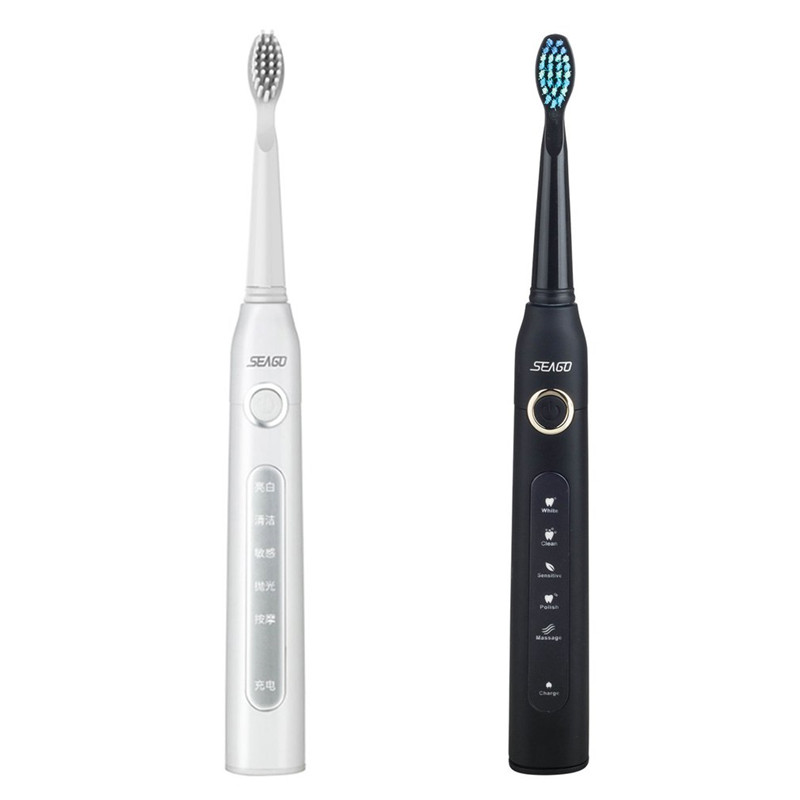 Seago USB Rechargeable Electric Toothbrush Adult Waterproof Deep Clean Teeth Brush With 2 Replacement Heads Toothbrush