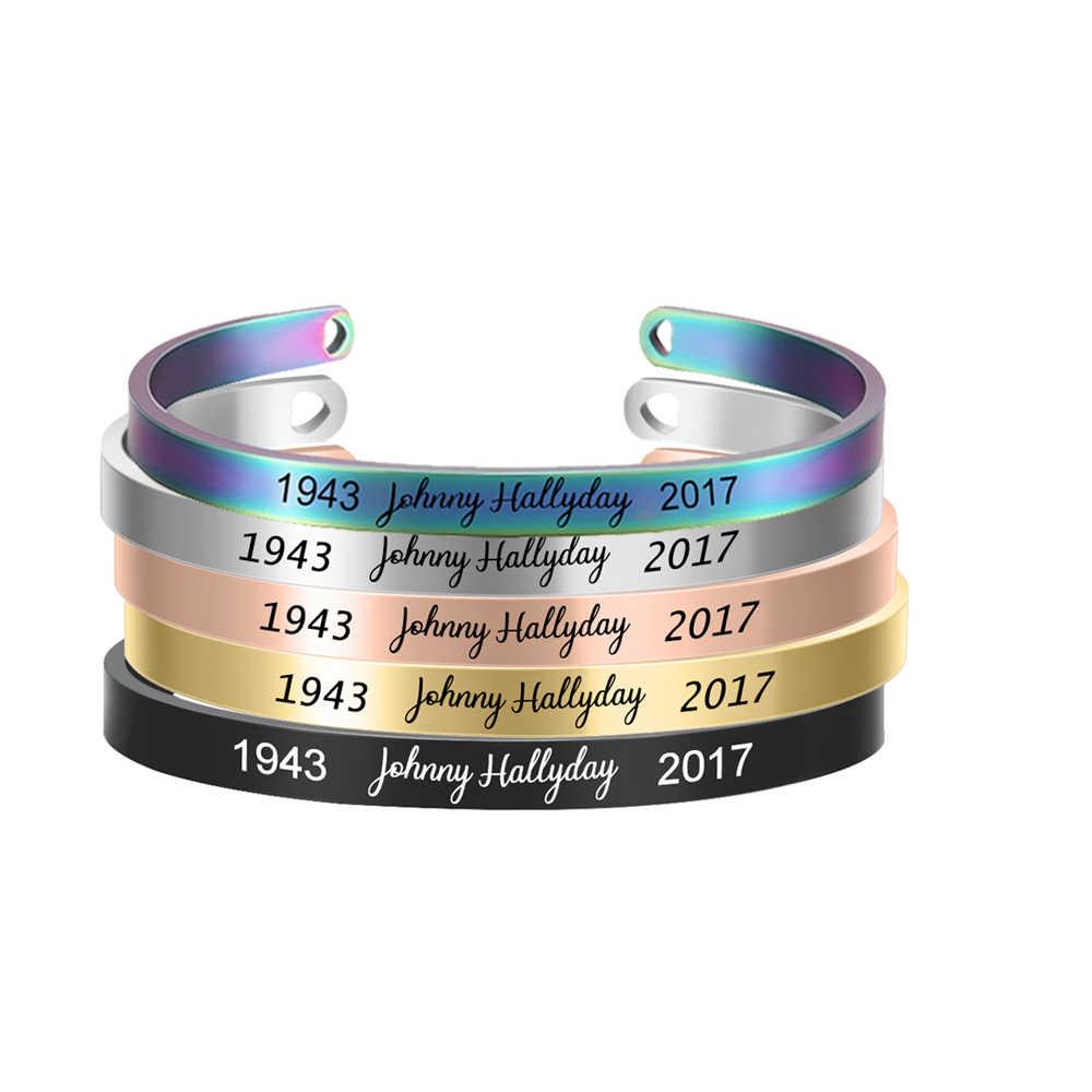 1 pçs nova johnny hallyday aço inoxidável manguito pulseira gravado nome data 5 cores feminino jóias presente
