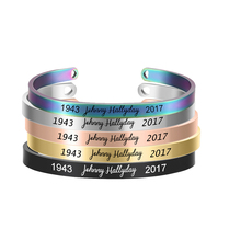 1pcs New JOHNNY HALLYDAY Stainless Steel Cuff Bangle Bracelet Engraved Name Date 5 Colors Women Jewelry Gift