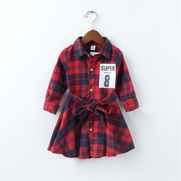 2016 new super 8 print children clothing child clothes cotton long sleeve baby girl dress kids girls princess plaid dresses