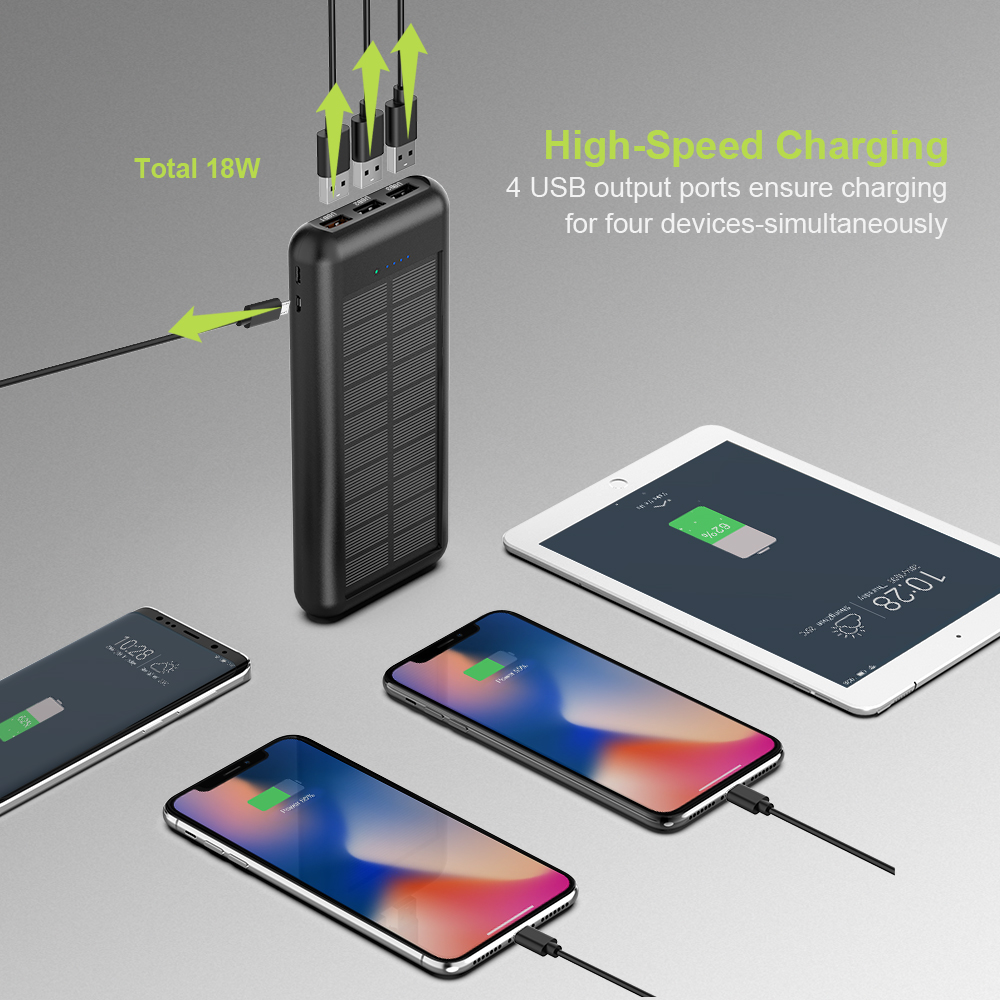 Image 4 - ALLPOWERS Newest 24000mAh Solar Power Bank Portable External Battery Solar Powerbank Charger for Smart Phone-in Power Bank from Cellphones & Telecommunications