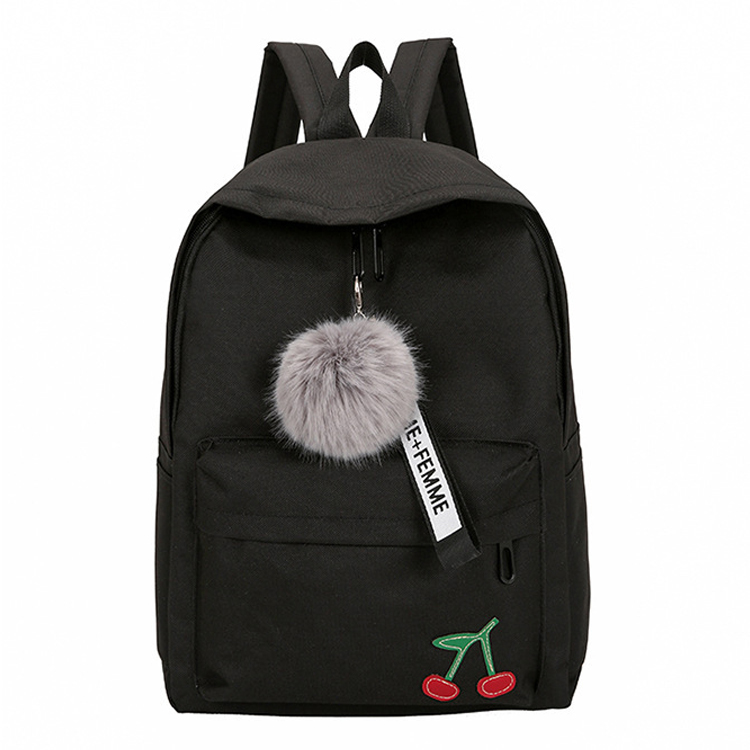 Corduroy School Bag Fashion Fuzzy Ball Design Girl School Backpack High Quality Satchel Pretty Style Students Durable Book Bag