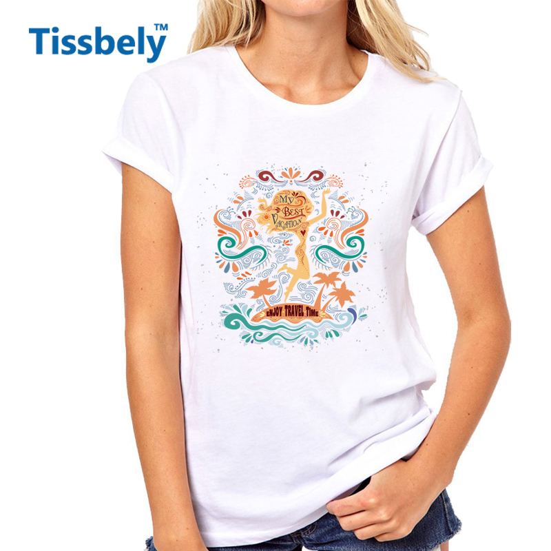 Tissbely My Best Vacation Women T Shirt Enjoy Travel Time Typography White Tee Inspirational And Motivational Design Women Tops