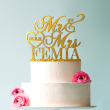 Personalized Mr & Mrs Last Name-Date Heart Custom Wedding Cake Topper Acrylic Real Fancy Customized