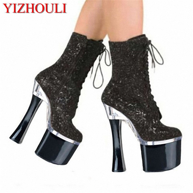 Fall small granule boots, 18 cm high heel boots, sexy nightclub personality single Dance Shoes