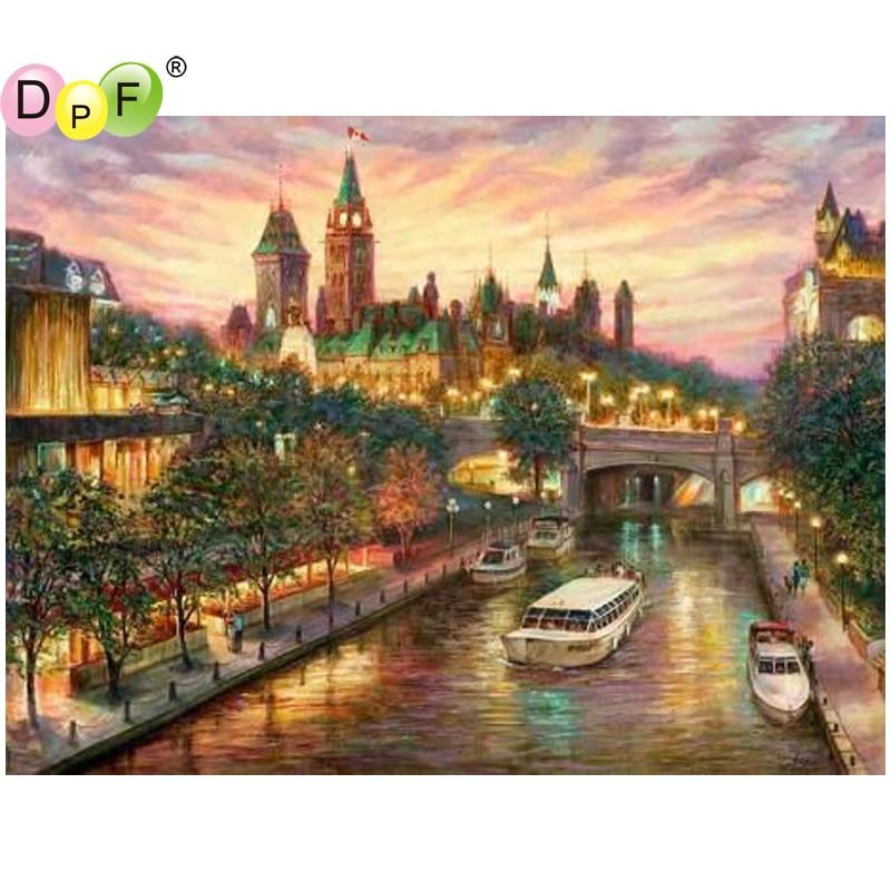 Dpf Diy Urban River 5d Needlework Diamond Mosaic Full Square Home