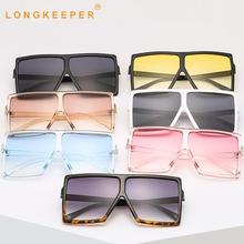 LongKeeper Big Frame Sunglasses Women Men Flat top Oversized Sun Glasses For Female Retro Square Gradient  Eyewear UV400 Oculos
