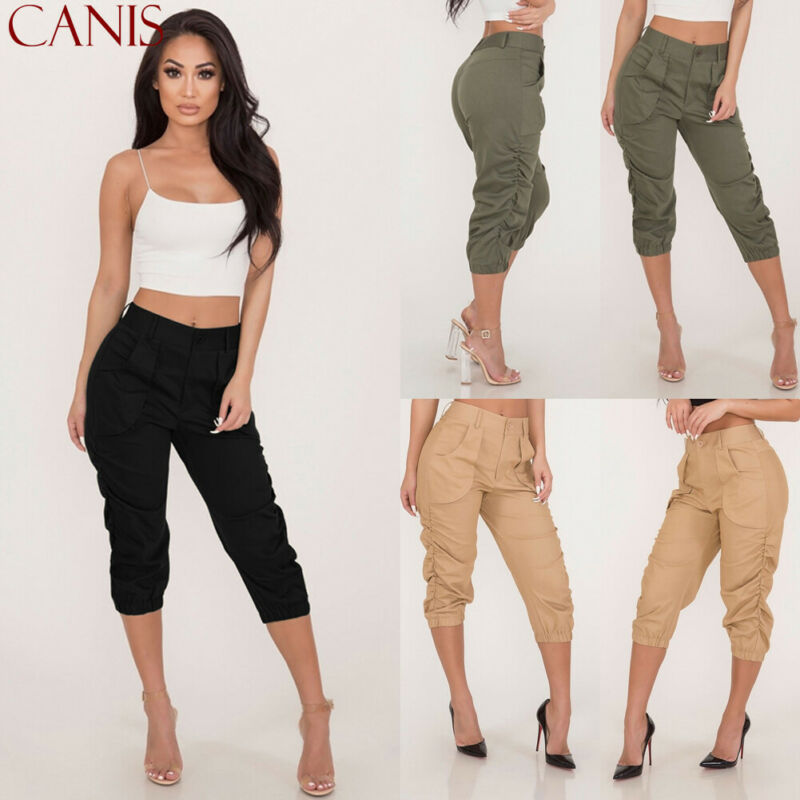 2019 New Summer Ladies 3/4 Trousers Women's Three Quarter Elasticated Waist   Capri   Cropped   Pants