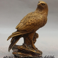 China Folk Bronze Copper Carved Lucky Eagle hawk Bird Statue Statuary Sculpture