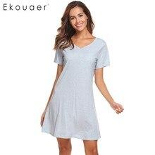 Ekouaer Women Casual Night Dress Sleepwear Cotton V-Neck Short Sleeve Solid Nightgown Lounge Dress Female Night Sleeping Dress