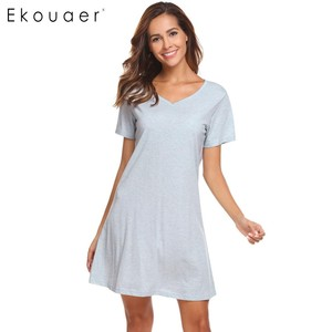 Image 3 - Ekouaer Women Casual Night Dress Sleepwear Cotton V Neck Short Sleeve Solid Nightgown Lounge Dress Female Night Sleeping Dress