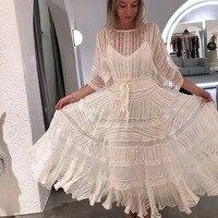 Высокое качество Haute Couture Австралии дизайнерское платье с круглым вырезом в полоску Bat рукава кружева шить шнуровке праздничное платье белы...