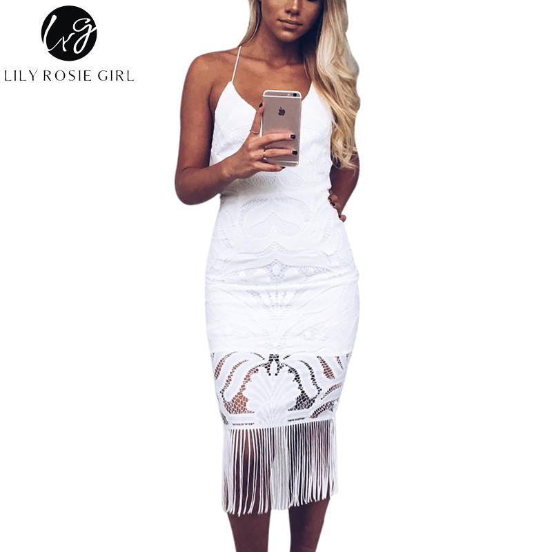 Black Sexy Strap Deep V Neck Women Dress Backless Hollow Out Lace Tassel Maxi Long Dresses