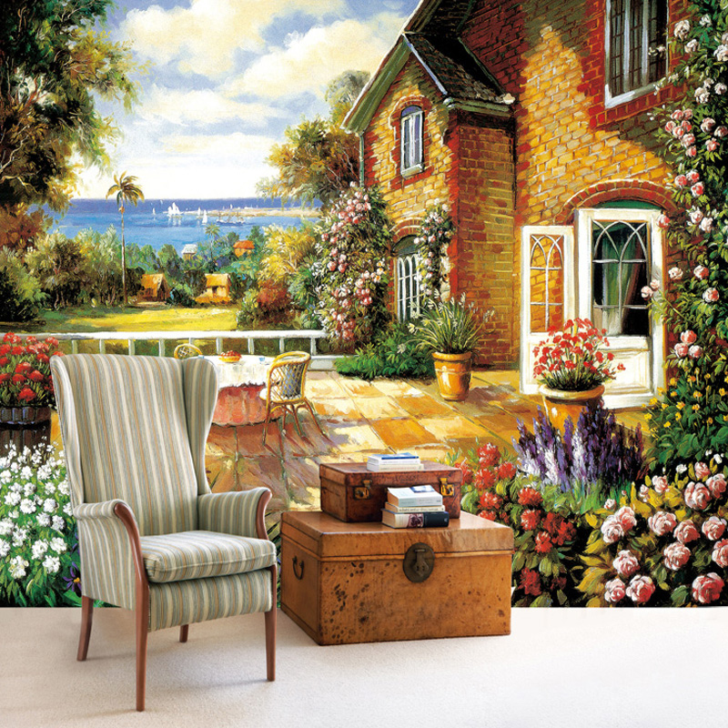Wallpaper Fall Farmhouse Country Style Wall Mural European Farmhouse Garden Photo