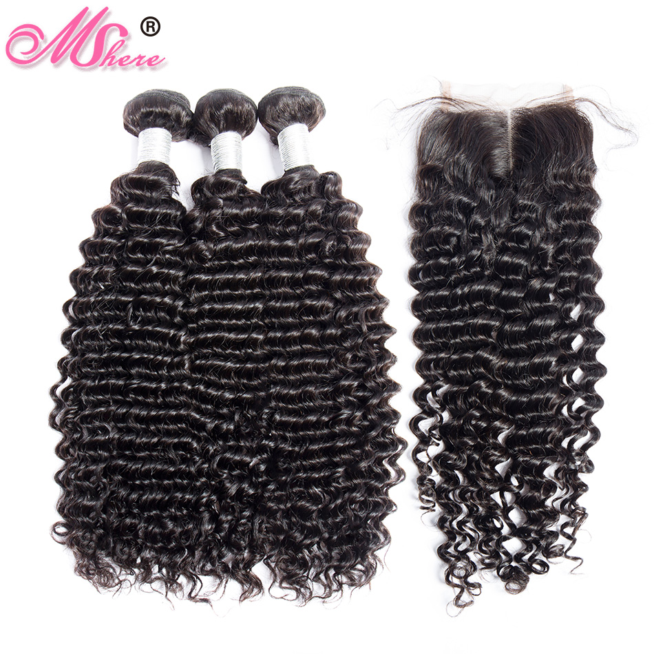 Human Hair Bundles With Closure Deep Wave Hair Lace Closure With Bundles Brazilian Hair Weave Bundles