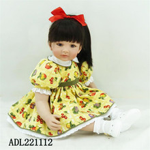 22 inch 55 cm  reborn  Silicone dolls, Yellow flower skirt beautiful girl