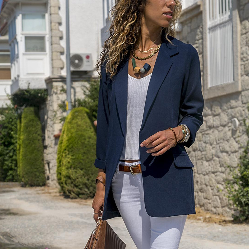 Blazer Women European And American Piecing Slim Solid Color Suit Long-Sleeved Lapel Suit With Fake Pocket Women Blazers Jackets