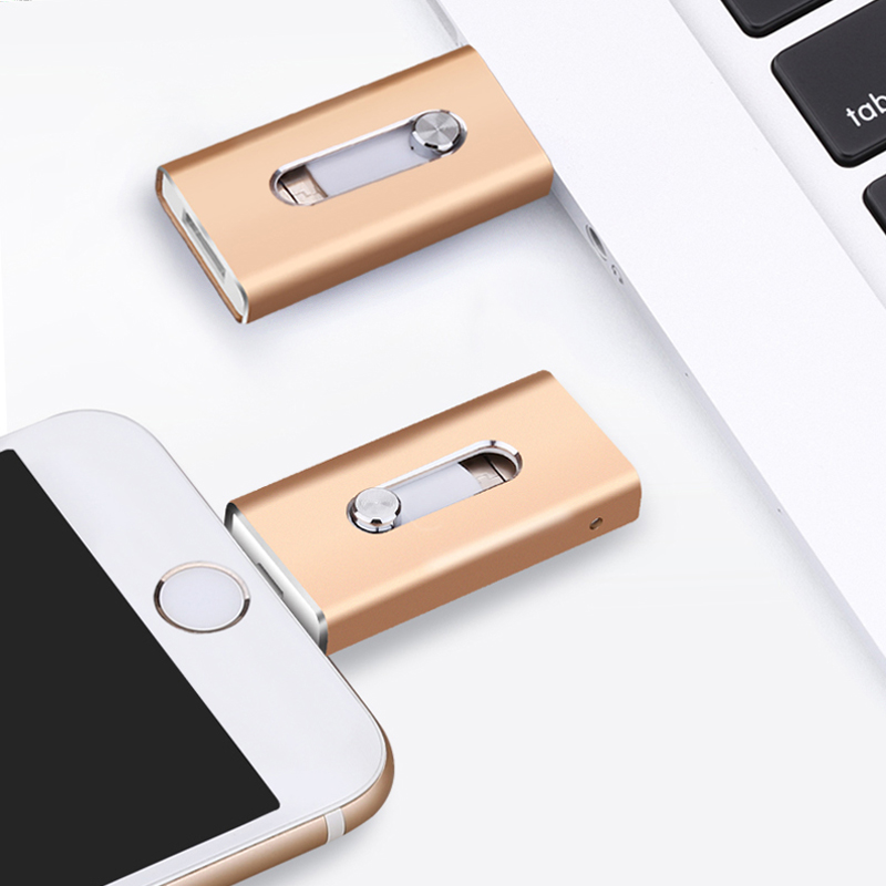 3 in 1 OTG Lightning Pen Drive 32GB For iPhone Flash Drive USB 3.0 32GB 16GB 128GB 64GB Pendrive For iPad Android Phone and PC Price $15.86