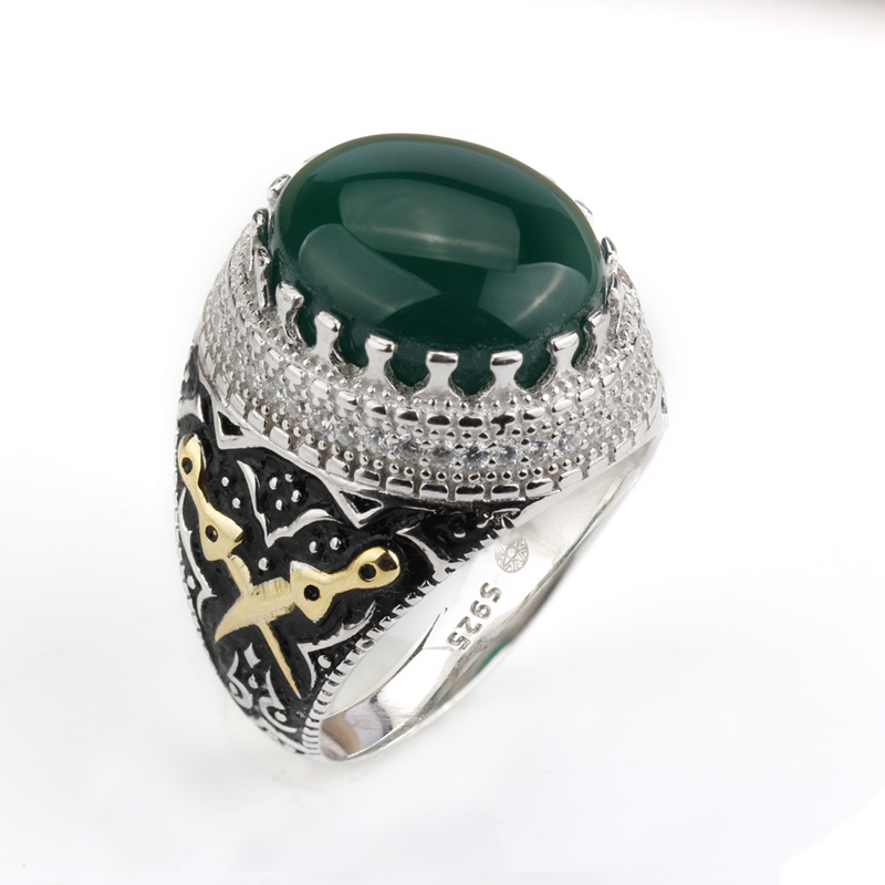 925 Sterling Silver Men Ring Multi color Big Agate Stone with Clear CZ Punk Ring for Men Wedding Engagement Jewelry