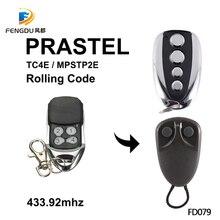2 sztuk PRASTEL TC4E drzwi garażowych 433 mhz zdalnego sterowania rolling kod PRASTEL MPSTP2E nadajnik ręczny bramy polecenia do otwierania drzwi