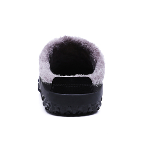 Image 4 - 2020 Shoes Men Winter Slippers Warm Waterproof Canvas Shoes With Fur Plus Size 39 48 Outside Slippers Casual Rubber Non slip