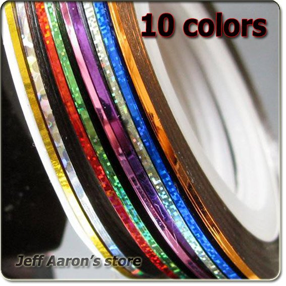 Nail Striping Tape Walmart: 10 Colors Terrific Mixed Nail Art Striping Line Glue