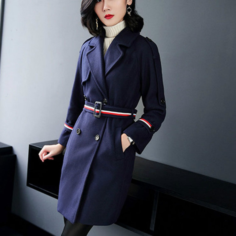 Top quality long-sleeved double-breasted fashion classic coat woman woolen winter overcoat S-XL free shipping winter coat free shipping boruoss 2015 new fashion winter cotton coat women short single breasted coat boruoss w1292