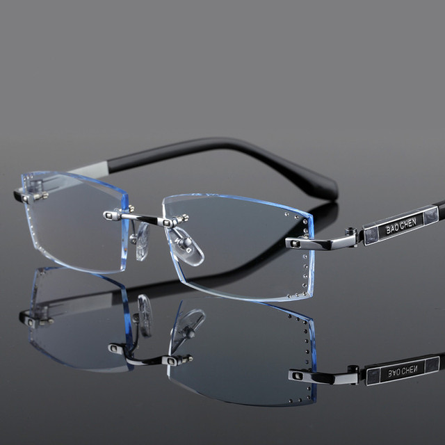 Corte de diamante de los hombres gafas sin montura gafas ultraligero ...