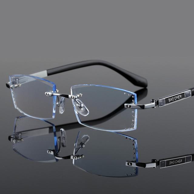 Diamond-cut dos homens óculos óculos de prescrição de óculos sem aro ultraleve titanium personalizado acabado 135