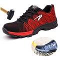Большие размеры #39 s, Рабочая обувь с дышащей сеткой и стальным носком Мужская Уличная противоскользящая стальная защитная обувь с защитой о...