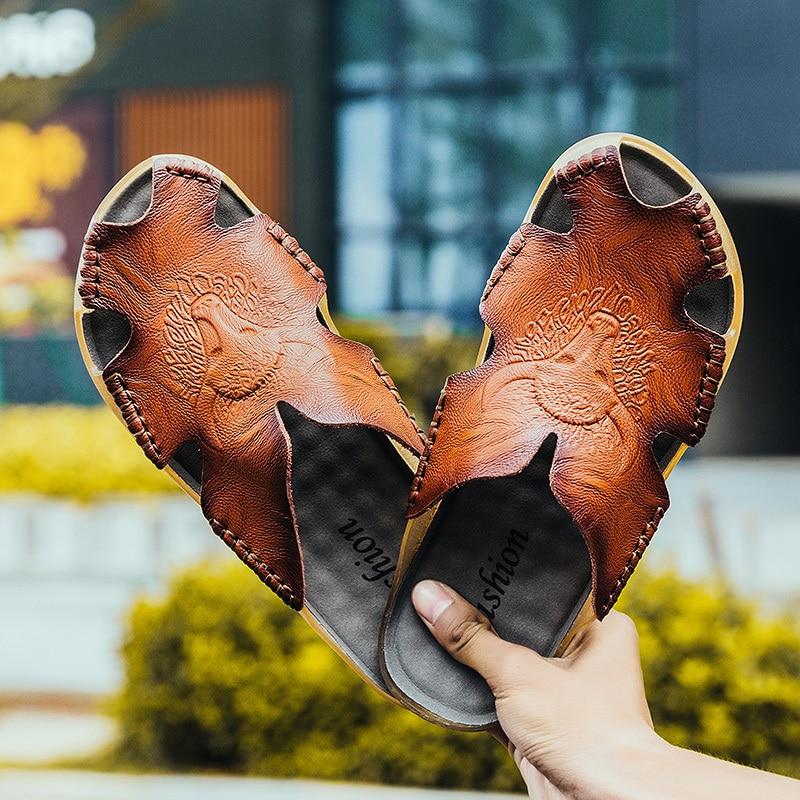 Das Beste Herren Hausschuhe Split Leder Sommer Schuhe Männer Rutschen Hohe Qualität Casual Turnschuhe Komfortable Slipper Wohnungen Spaziergang Schuhe Flip Flop