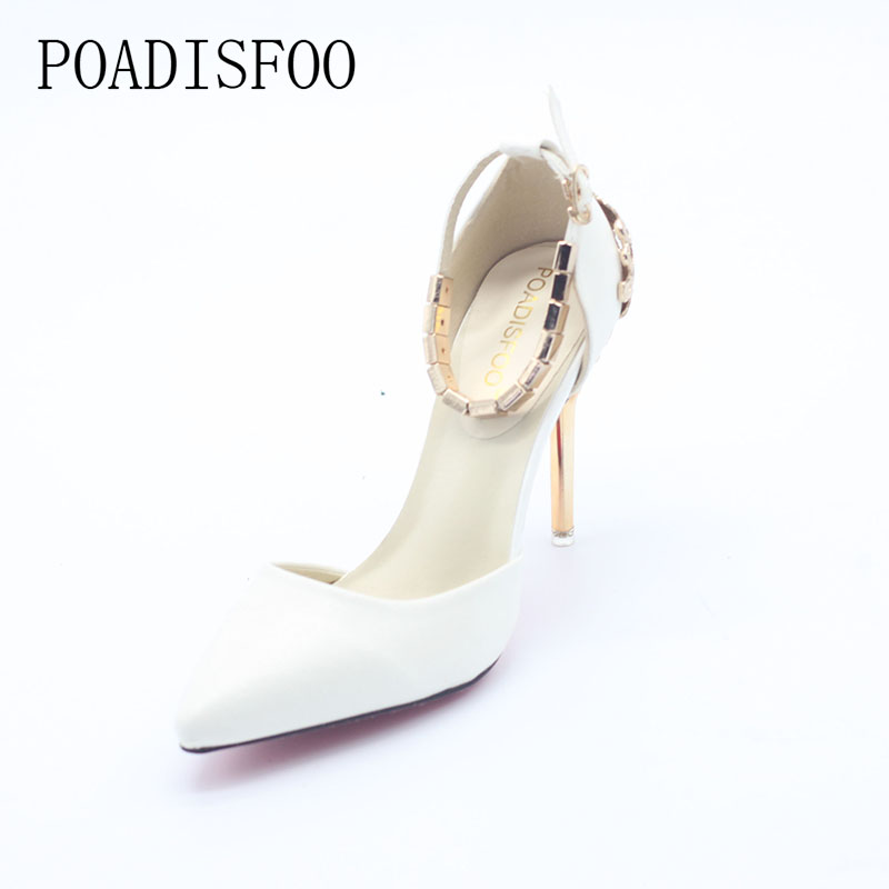 POADISFOO  fine with high-heel shallow mouth pointed hollow carved metal bag with chain word with a single shoes .ZWM-1723 lennon j skywriting by word of mouth