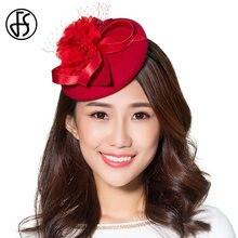 FS señoras rojo sombreros 100% lana Fedora fascinator para la boda de la  Iglesia Sombreros de fiesta invierno floral elegante vi. 4d8412faf0e