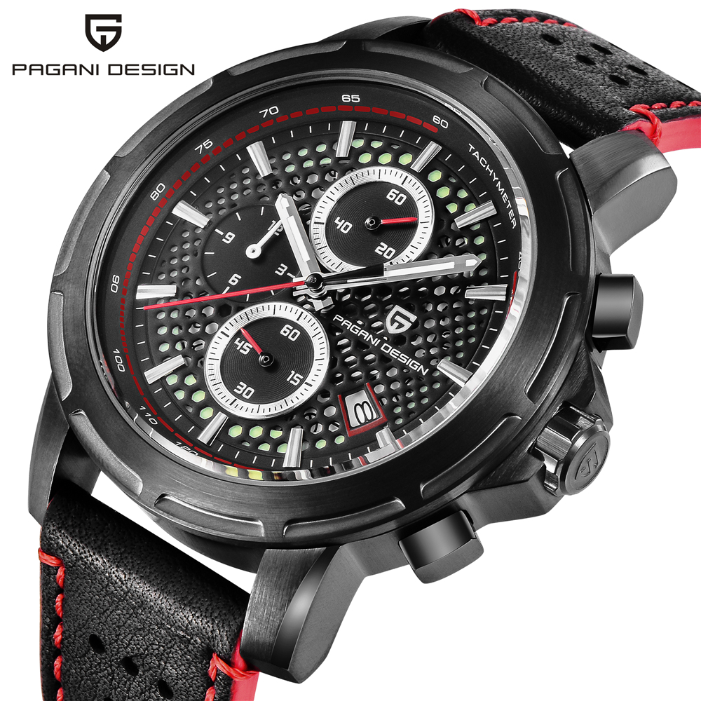 PAGANI DESIGN Top Brand Luxury Waterproof Genuine Leather Sport Military Quartz Watch Men Clock Relogio Masculino dropshipping