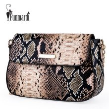FUNMARDI Brand Snake Designer Women Bag Chain Strap Shoulder Bags Small Crossbody Bags For Women PU Leather Bag Female WLHB1790(China)
