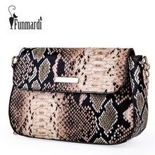 FUNMARDI Small Crossbody Bag For Women Fashion Snake PU Leather Shoulder Bag Female Chain Messenger Bag Women Brand Bag WLHB1790(China)