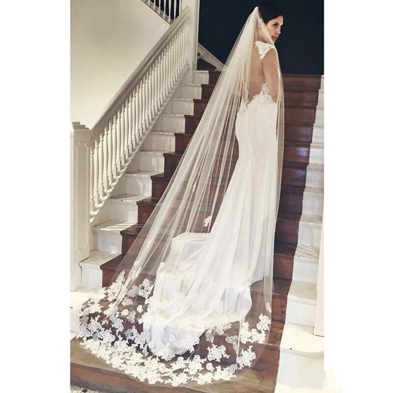 2019 Best Selling Cheapest In Stock Long Chapel Length Bridal Veil Appliques Veu De Noiva Longo Wedding Veil Lace Purfle wi