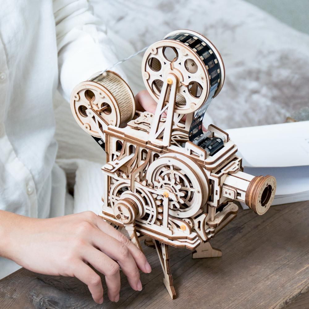 Robotime 2019 Nouvelle Arrivée Main Manivelle Diy 3D Flim Projecteur En Bois Jeu de Puzzle Assemblée Jouet Cadeau pour Enfants Adulte LK601 - 5