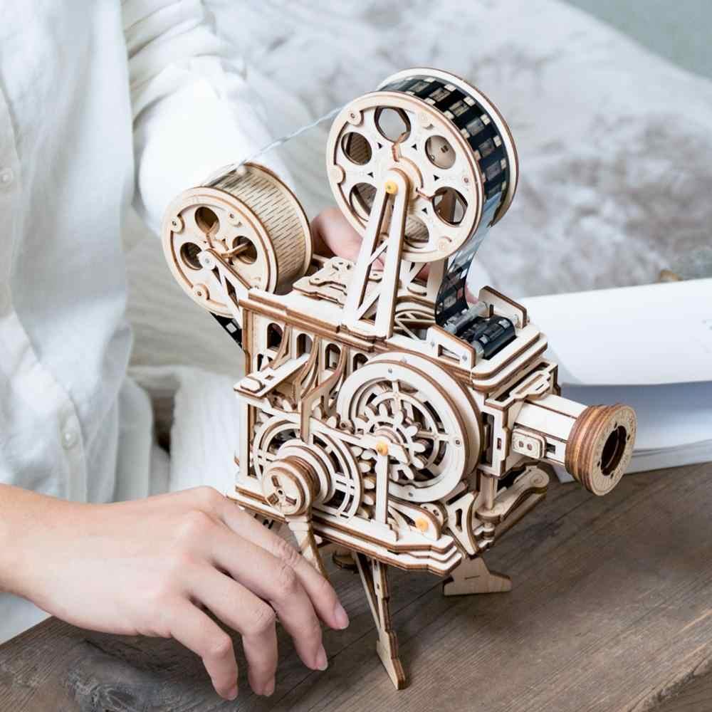 Robotime w stylu Vintage ręcznie korba Diy 3D projektor drewniane Puzzle gry montaż Vitascope zabawka prezent dla dzieci dla dorosłych LK601