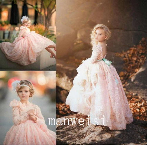 купить Flower Girl Dresses Pink Hi-lo Tulle Princess Party Birthday Pageant Ball Gowns children clothing дешево