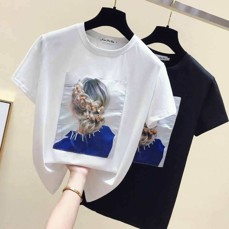 Gkfnmt Korea Style Fashion T-shirt Women Tops Cotton Short Sleeve Appliques White Tshirt Women Summer Top Black Tee Shirt 2019