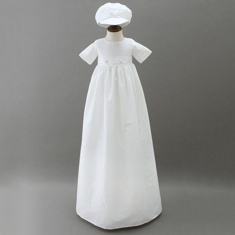 White Baby Boy Long Baptism Gown Dress with Bonet