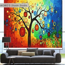 MOMO Colorful Tree Window Curtains Roller Shades Blinds Thermal Insulated Blackout Fabric Custom Size, Alice 161-164