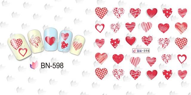12 PACK/LOT décalcomanie deau NAIL ART ongle autocollant couverture complète lèvre STICK baiser doux coeur haut talon amant BN589-600