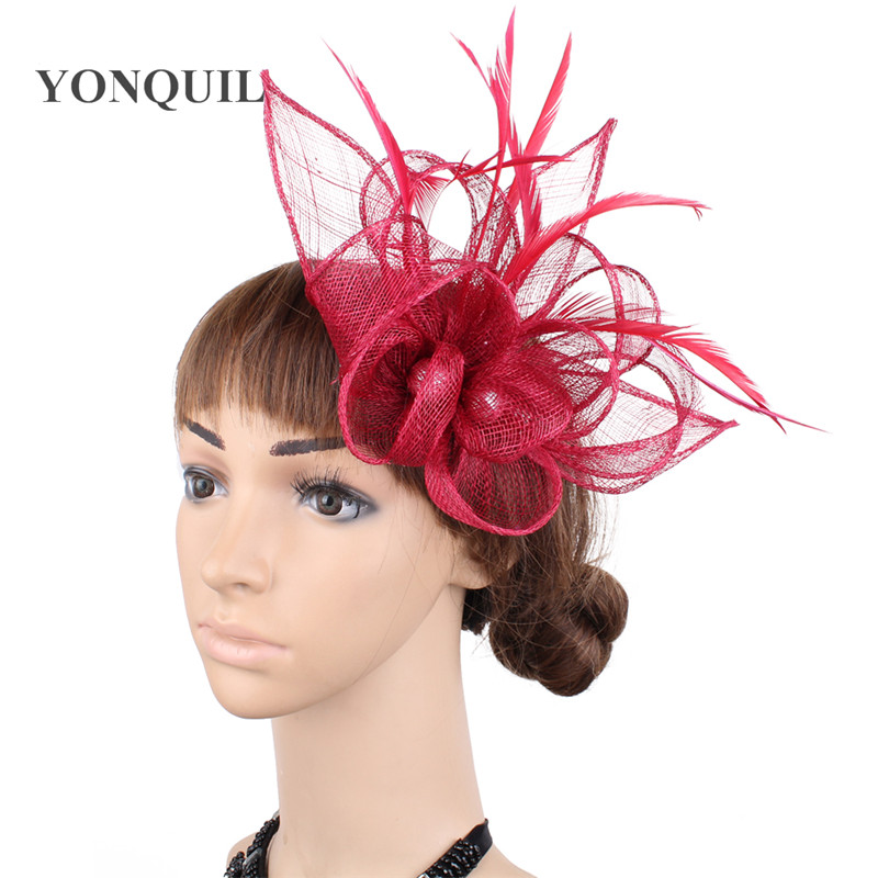 Wine Red Sinamay Fascinator Headpiece Feather Wedding Headwear Chi Millinery Church Hat Fancy Color Race Hair Accessories SYF477