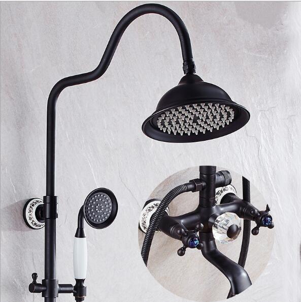 Livraison gratuite de luxe Antique en laiton pluie douche ensemble robinet baignoire mélangeur robinet à main douche noir bain et douche robinet