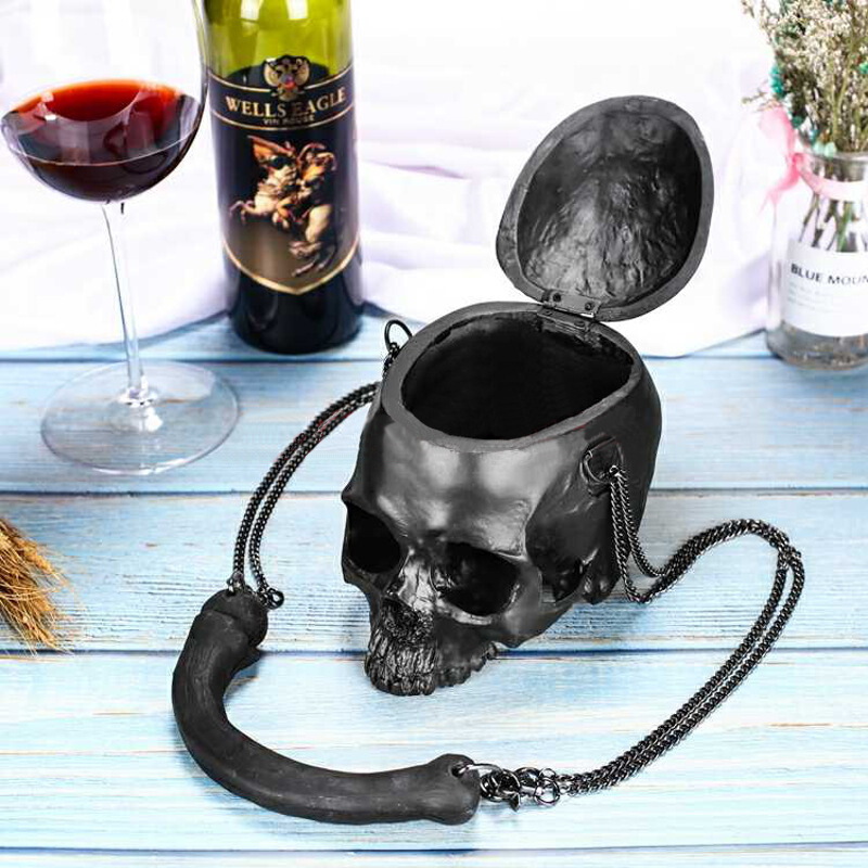 Stylish Women Bag Funny Skeleton Head Black handbag Men Fashion Designer Satchel Skull Shoulder Messenger Bag stylish metal and canvas design satchel for women