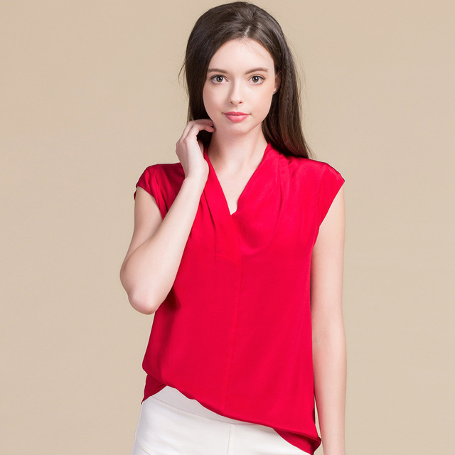 Summer Women Sweet Blouses 100% Real Silk Knitted Sleeveless Shirts Comfortable Breathable V-neck Blouses 8027