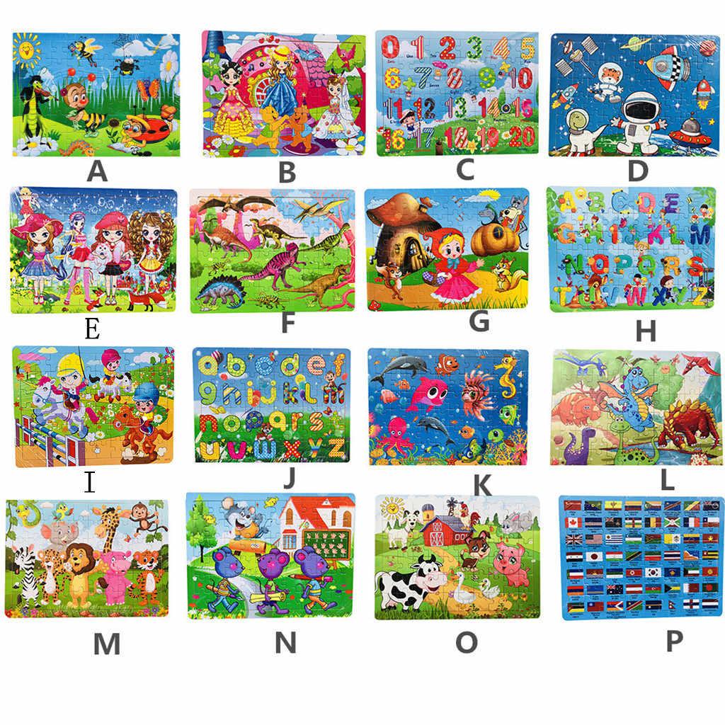 Новые 60 шт. деревянные головоломки Развивающие игрушки для детей мультфильм животных деревянные пазлы Дети ребенок Рождественский подарок с железной коробкой